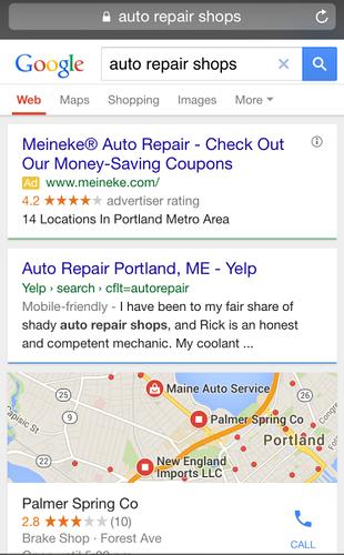 """Google добавил """"Близлежащие бизнесы"""" в локальную выдачу."""