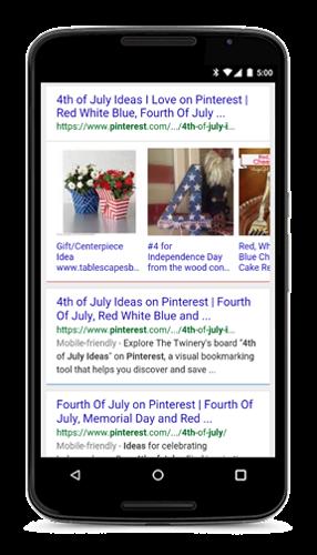 В карусели мобильной выдачи Google  появились видеоролики, пины и рецепты