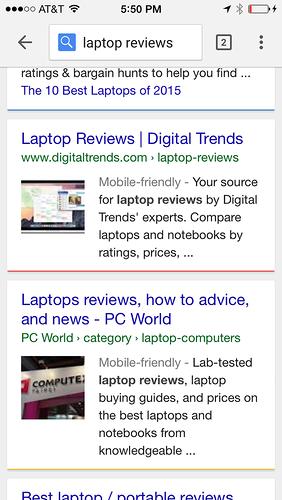 Google тестирует крупные картинки в результатах мобильной выдачи