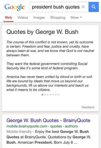 Google показывает цитаты известных людей без ссылок на источники